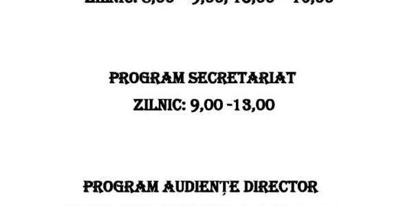 PROGRAM CASIERIE / SECRETARIAT /AUDIENȚE DIRECTOR